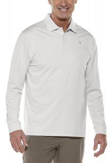 Coolibar---Sport-Langarm-UV-Polo-für-Männer---Uni---Silber