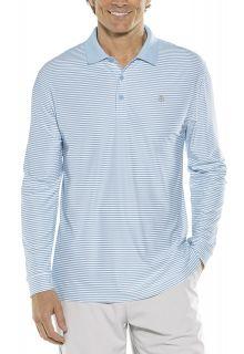 Coolibar---Sport-Langarm-UV-Polo-für-Männer---Streifen---Vintage-Blau/Weiss