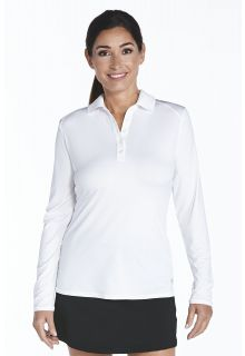Coolibar---UV-Sport-Polo-für-Damen---Langarm---Prestwick-Golf---Weiß