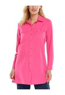 Coolibar---UV-Shirt-für-Damen---Santorini-Tunikabluse---Pink-Bloom