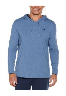 Coolibar---UV-Pullover-mit-Kapuze-für-Herren---Oasis---Pazifikblau