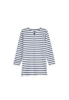 Coolibar---UV-Tunika-für-Mädchen---Weiß-/-Marineblaue-gestreift