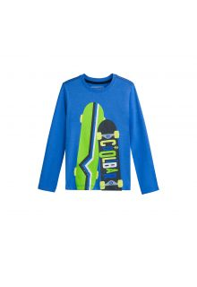 Coolibar---UV-Langarmshirt-für-Kinder---Skateboards---Blau