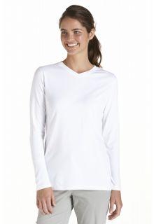 Coolibar---UV-Shirt-für-Damen---V-Neck-Langärmlig---Morada---Weiß