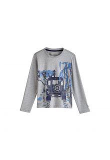 Coolibar---UV-Langarmshirt-für-Kinder---Grau-/-Safari-Jeep-Print