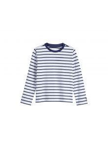 Coolibar---UV-Shirt-für-Kinder---Weiß-/-Marineblau-gestreift