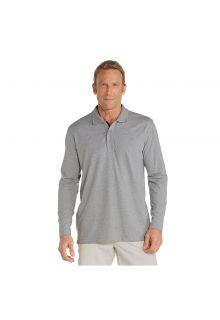 Coolibar---UV-Poloshirt-für-Herren---Langärmlig---Grau