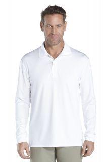 Coolibar---UV-Sport-Polo-für-Herren---Langärmlig---Erodym-Golf---Weiß