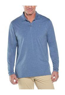 Coolibar---UV-Poloshirt-für-Herren---Langärmlig---Coppitt---Pazifikblau
