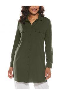 Coolibar---UV-Shirt-für-Damen---Santorini-Tunikabluse---Olivgrün