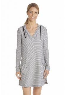 Coolibar---UV-Kleid-mit-V--Hals-und-Kapuze-Damen---Schwarz/Weiß