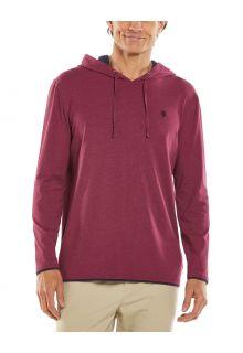 Coolibar---UV-Pullover-mit-Kapuze-für-Herren---Oasis---Cranberr