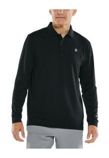Coolibar---UV-Sport-Polo-für-Herren---Langärmlig---Erodym-Golf---Schwarz
