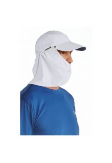 Coolibar---UV-Sonnenkappe-für-Herren-mit-Nackenschutz---Weiß-/-Marineblau