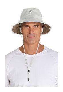 Coolibar---Federleichter-UV-Bucket-Hut-für-Herren---Chase---Stein/Khaki