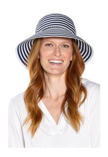 Coolibar---UV-Bucket-Hut-für-Damen---Audrey-Ribbon---Navy/Weiß