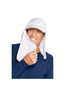 Coolibar---UV-Kappe-mit-Nacken--und-Gesichtsschutz-für-Herren---Weiß