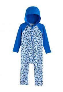 Coolibar---UV-Schwimmanzug-mit-Kapuze-für-Babys---Finn---Marlin-Blau-Mosaik
