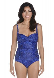 Coolibar---UPF50+-Frauen-Bandeau-Tankini-Oberteil---Blau-Blumern-Muster