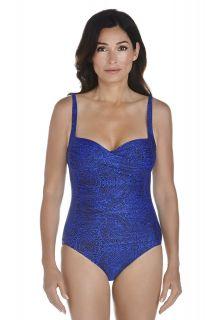 Coolibar---UPF50+-Ruche-Bandeau-Badeanzug--Blau-Floral-Motif