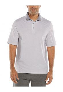 Coolibar---UV-Sport-Polo-für-Herren---Erodym-Golf---Weiß/Grau-mit-Muster
