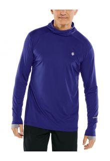 Coolibar---UV-Sportshirt-mit-Kapuze-für-Herren---Langärmlig---Agility---Dunkelblau