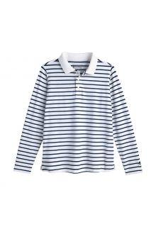 Coolibar---UV-Polo-Shirt-für-Kinder---Langärmlig---Coppitt---Weiß/Navy
