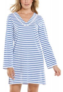 Coolibar---UV-Schutz-Strandkleid-für-Damen---Samoa-Cover-Up---Blau/Weiß