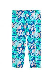Coolibar---UV-Schwimmleggings-für-Mädchen---Wave-Capri---Marlin-Blau-Blumig