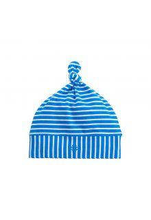 Coolibar---UV-Beaniemütze-für-Babys---Blau/Weiß-gestreift