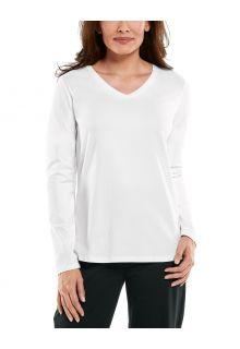 Coolibar---UV-Shirt-für-Damen---V-Neck-Langarmshirt---Morada---Weiß