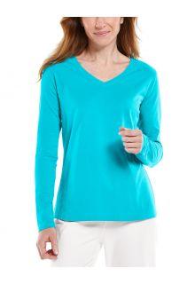 Coolibar---UV-Shirt-für-Damen---V-Neck-Langarmshirt---Morada---Türkis