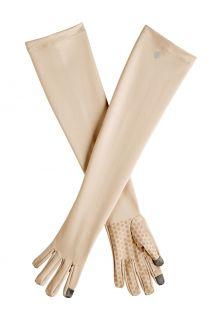 Coolibar---UV-schützende-Handschuhe-mit-langem-Arm-für-Erwachsene---Culebra---Beige