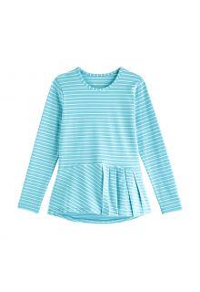 Coolibar---UV-Shirt-für-Mädchen---Langärmlig---Aphelion-Tee---Eisblau/Weiß