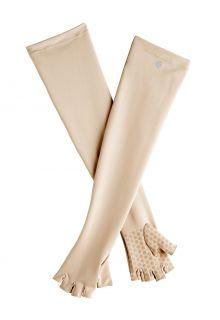 Coolibar---UV-fingerlose-Handschuhe-mit-langem-Arm-für-Erwachsene---Perpetua---Beige