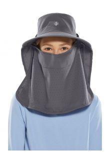 Coolibar---UV-Sonnenkappe-mit-Gesichts--und-Nackenschutz-für-Kinder---Stevie-Ultra---Carbon