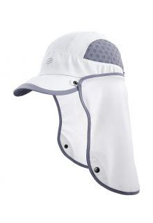Coolibar---UV-Sport-Kappe-mit-Nackenschutz-für-Erwachsene---Agility---Weiß/Stahlgrau