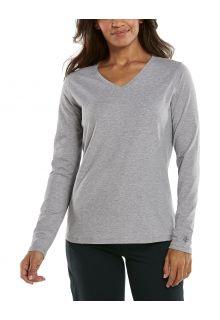 Coolibar---UV-Shirt-für-Damen---V-Neck-Langarmshirt---Morada---Grau
