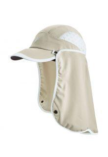 Coolibar---UV-Sport-Kappe-mit-Nackenschutz-für-Erwachsene---Agility---Stein/Weiß