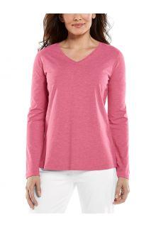 Coolibar---UV-Shirt-für-Damen---V-Neck-Langarmshirt---Morada---Dahlienrosa