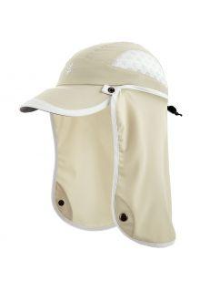 Coolibar---UV-Sport-Kappe-mit-Nackenschutz-für-Kinder---Agility---Stein/Weiß
