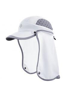 Coolibar---UV-Sport-Kappe-mit-Nackenschutz-für-Kinder---Agility---Weiß/Stahlgrau/weiß