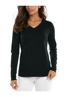 Coolibar---UV-Shirt-für-Damen---V-Neck-Langarmshirt---Morada---Schwarz