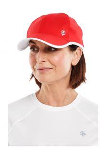 Coolibar---UV-Sport-Kappe-für-Erwachsene---Lenny---Rot/Weiß