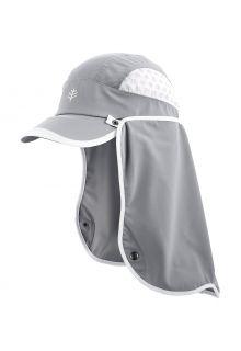Coolibar---UV-Sport-Kappe-mit-Nackenschutz-für-Erwachsene---Agility---Stahlgrau/Weiß