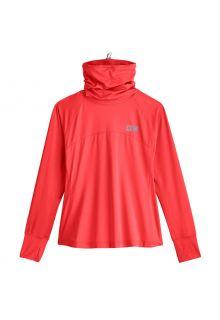 Coolibar---UV-Badeshirt-mit-Nackenschutz-für-Damen---Paros---Hot-Coral