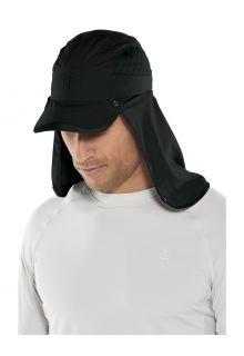 Coolibar---UV-Sport-Kappe-mit-Nackenschutz-für-Erwachsene---Agility---Schwarz