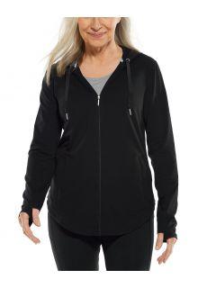 Coolibar---UV-Kapuzenshirt-mit-Reißverschluss-für-Damen---LumaLeo-Zip-Up---Schwarz