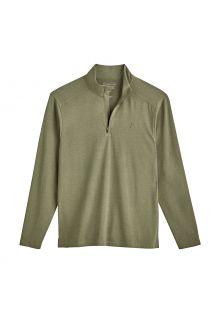 Coolibar---UV-Pullover-mit-Viertel-Zip-für-Herren---Sonora---Olivgrün