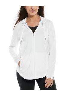 Coolibar---UV-Kapuzenshirt-mit-Reißverschluss-für-Damen---LumaLeo-Zip-Up---Weiß